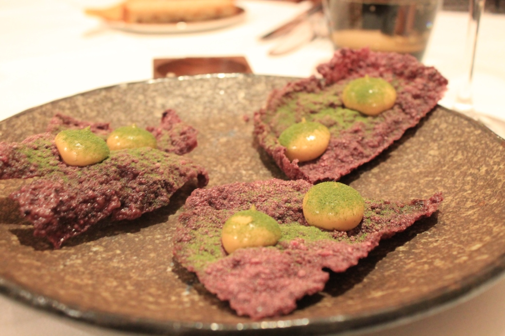 The delicious and imaginative Vegemite cracker with Vegemite emulsion and dehydrated kale